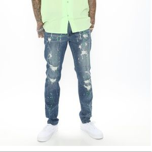 Fashion Nova Drake Skinny Jeans Paint Splatter